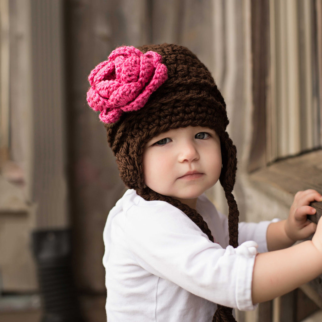 Melondipity Girls White Crochet Baby Beanie Hat Knit Pink Flower Ear Flap Animal