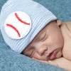 Big Baseball Blue and White Striped Newborn Boy Hospital Hat