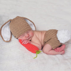Brown Bunny with Carrot Hat, Diaper Cover and Plush Carrot Set for Newborns