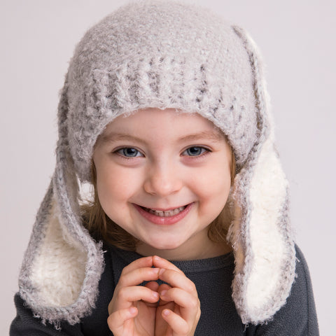 White and Grey Bunny Floppy Ears Baby and Toddler Easter Bunny Hat - Gender Neutral