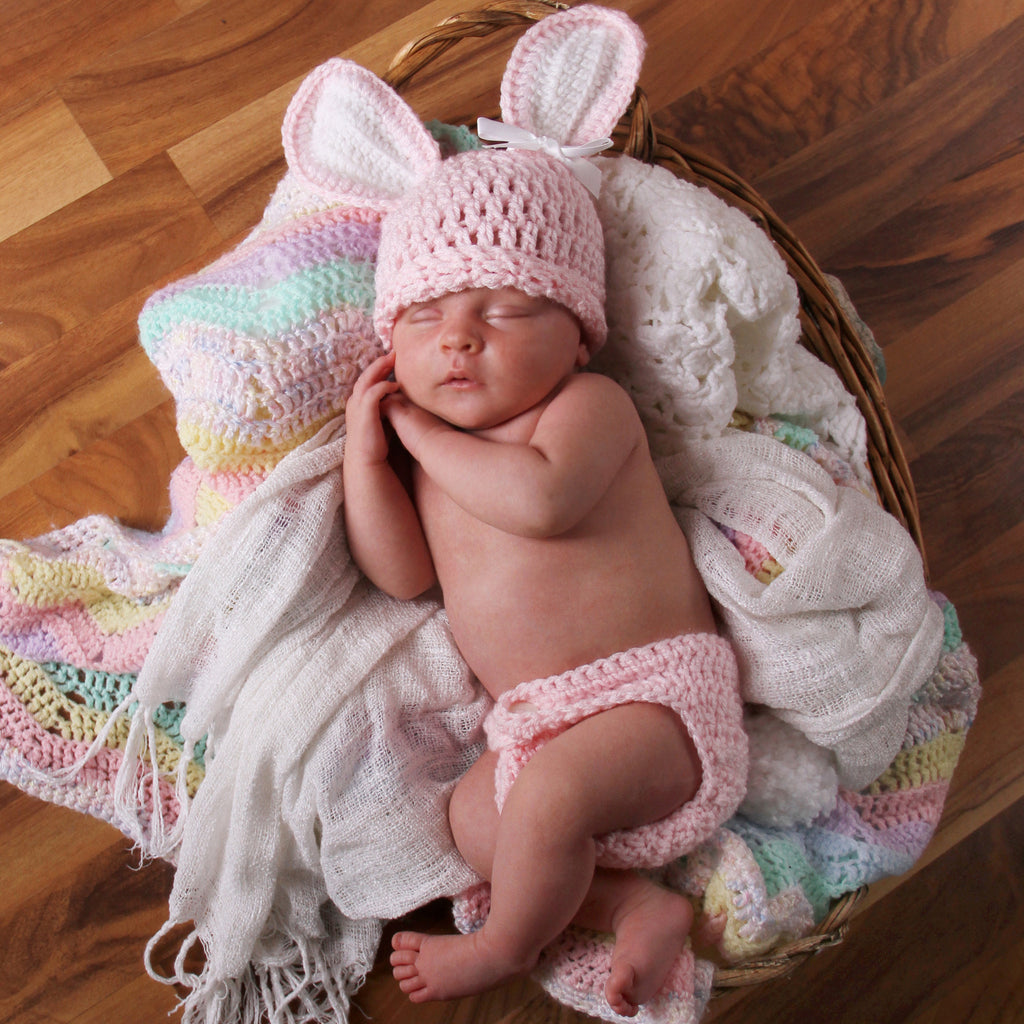 Pink Cottontail Girls Bunny Hat and Diaper Cover SET - Newborn Girls