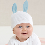 Cotton Sweater Knit Newborn Blue Bunny Ears Baby Hat - 0-3 months