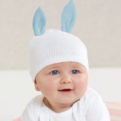 Cotton Sweater Knit Newborn Blue Bunny Ears Baby Hat - 0-3 months (blue or pink) icon