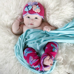Butterfly Beauty Baby Girl and Toddler Beanie - Matching leg warmers available icon