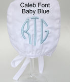 Seersucker White Bonnet for Baby Boys - Baby Boy Bonnet - Monogram Optional