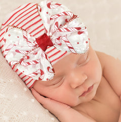 Candy Cane Dreams Bow Striped Hospital Hat For Newborn Girls - Christmas Babies icon