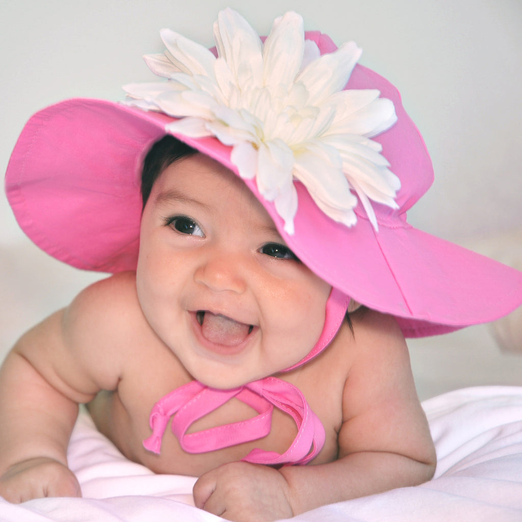 Pink Wide Brim Sun Hat with White Flower Daisy Sun Hat - Removable Flower