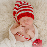 Twisted Striped Candy Cane Christmas Baby Crochet Stocking Hat - Gender Neutral