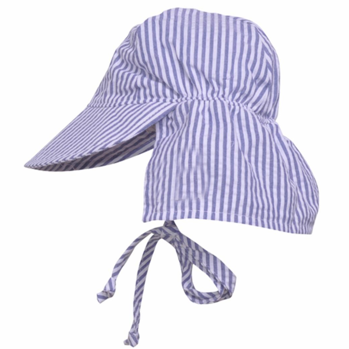 Chambray Seersucker Stripe Sun & Swim Sun Hat for Baby Boys - PERSONALIZATION OPTION