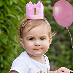 Pink Felt Birthday Crown Headband - Chose numbers 1, 2 or 3 years old icon