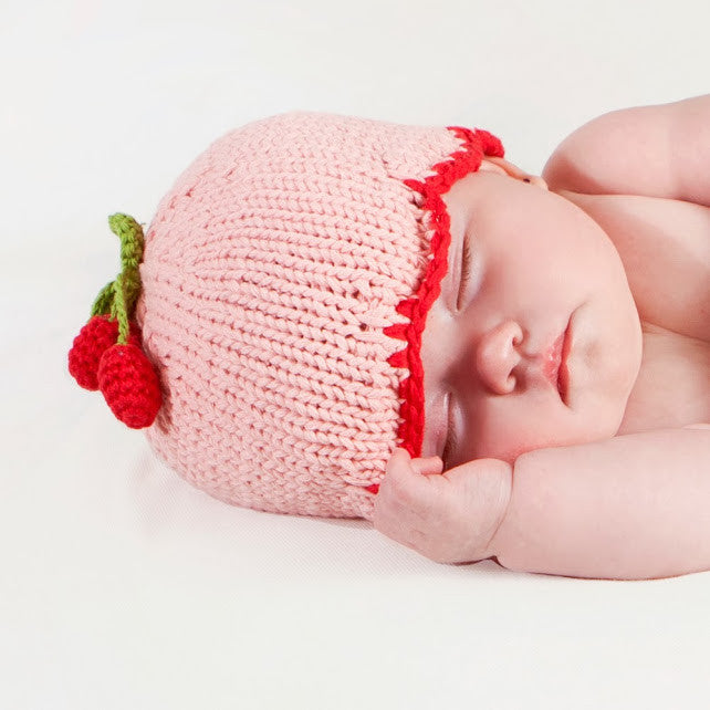 Cherries on Top Pink Baby Girl Beanie