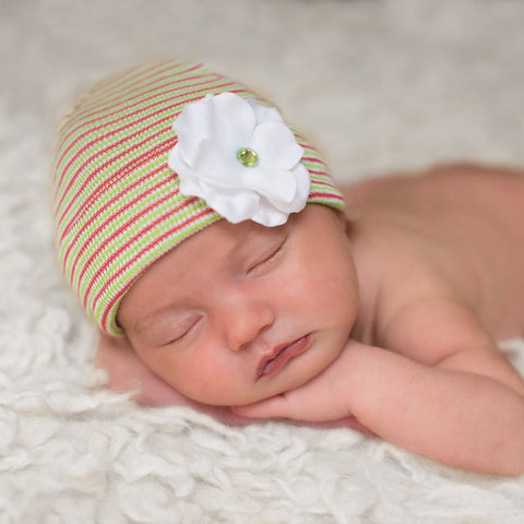 Christmas Striped White Hydrangea Baby Newborn Girl Hospital Hat