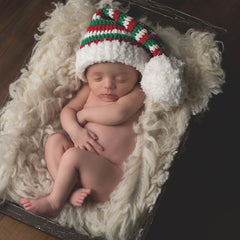 Spearmint Green, Red and White Striped Santa Stocking Baby Hat for Boys or Girls - Christmas Hat icon