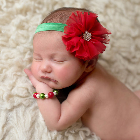 Christmas Frayed Flower Newborn Headband and Bracelet SET