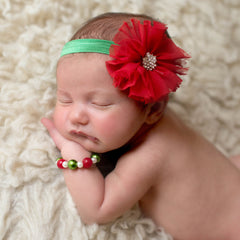 Christmas Frayed Flower Newborn Headband and Bracelet SET icon