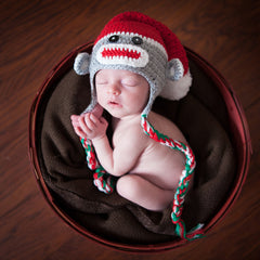 Sweet Christmas Sock Monkey Grey Baby Hat icon