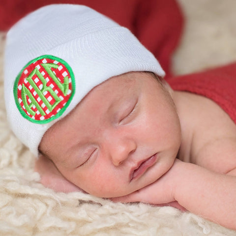 Christmas Red and Green Check Monogram PATCH Newborn Hospital Hat