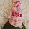 Christmas Candy Cane Striped Hospital Hat with Mixed Red & White White Pom Pom