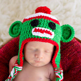 Cutie Christmas Green Sock Monkey Baby Boy or Girl Hat