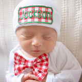 Christmas Boy Bow Tie Gingham Set - Perfect Take Me Home Set for Newborn Christmastime Baby