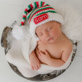 Spearmint Striped Personalized Stocking Hat with Felt Name Patch - Baby Christmas Hat