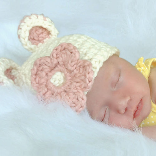 crochet baby girl beanie hat baby pink 1 silver grey crochet bow  hand made