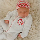 Christmas Monogrammed Newborn Boys and Girls White and Red Santa Take Me Home Set - Hat and Footie Set