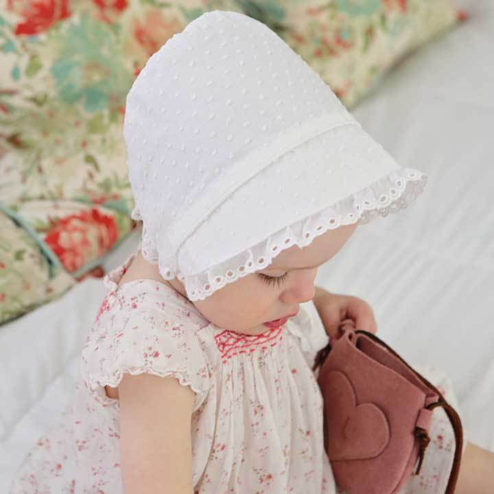 New Handmade White Floral Cotton with Yellow Trim Baby Bonnet