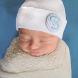 Blue Seersucker Covered Button Initial White Newborn Boy Hospital Hat - Nursery Beanie