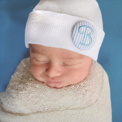 Blue Seersucker Covered Button Initial White Newborn Boy Hospital Hat - Nursery Beanie icon
