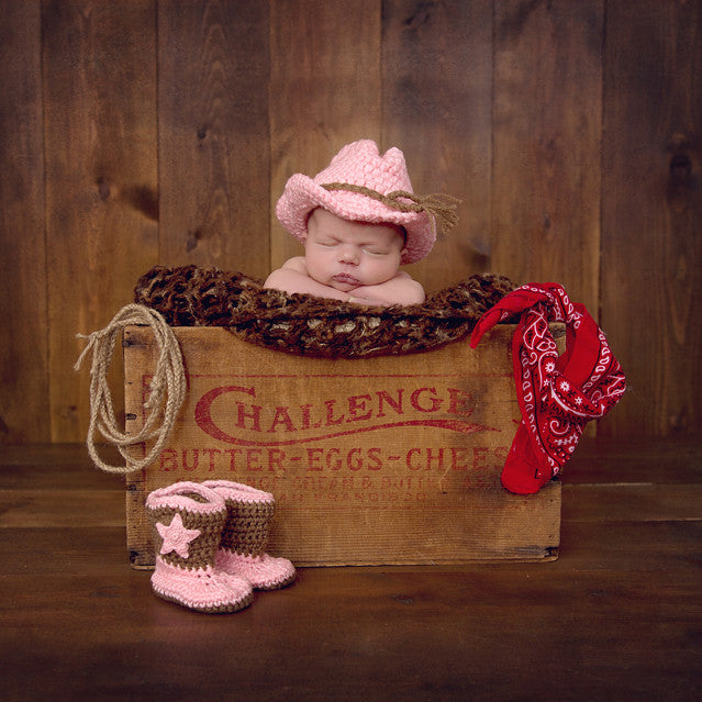 Cutie Cowgirl Hat and Booties Set for Newborn Girls