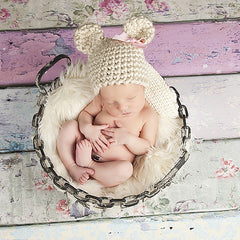 Chunky Cream and Pink Bow Baby Bear Girl Hat Newborn Size
