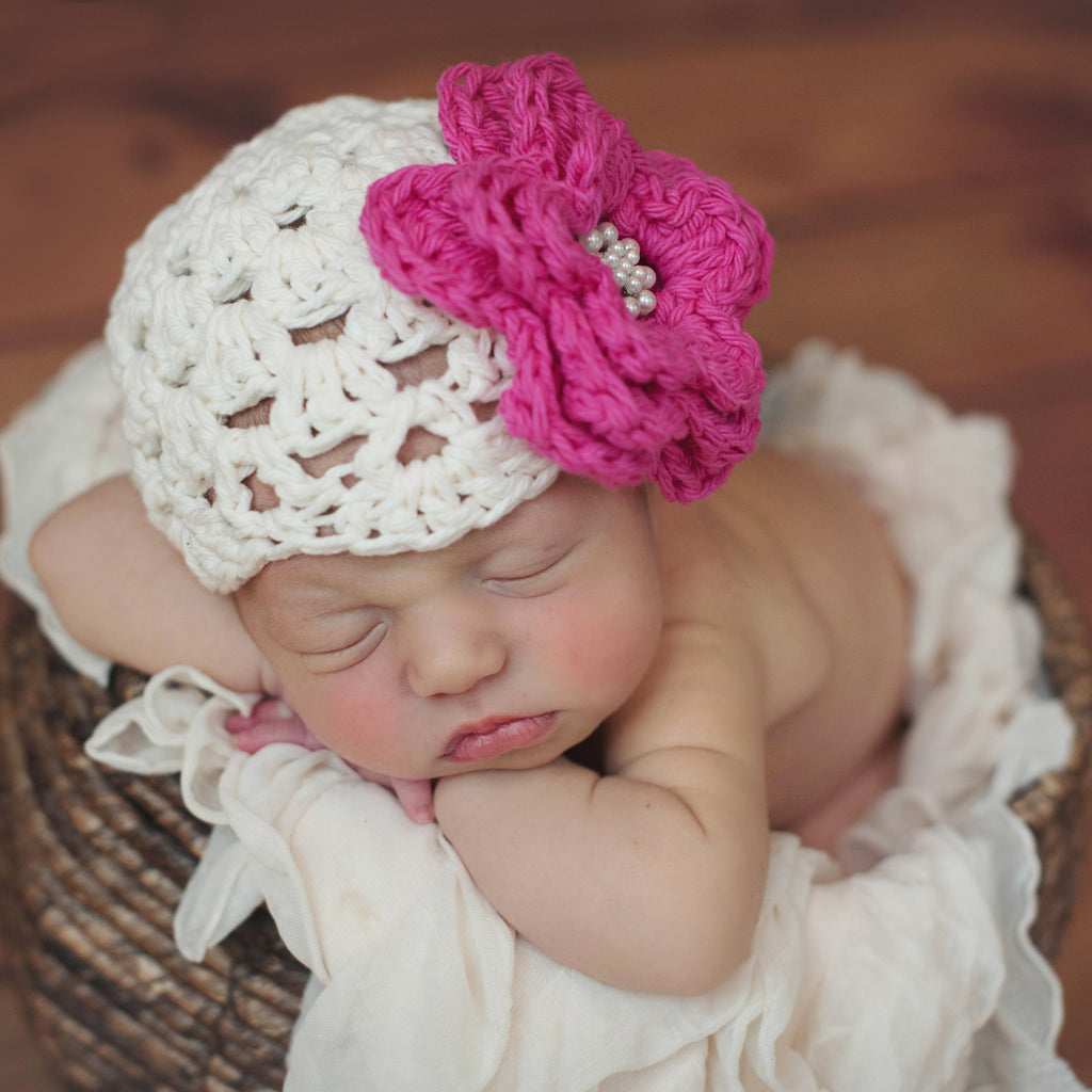 Southern Belle Cream Crochet Pink Flower Hat with Pearl Jewel
