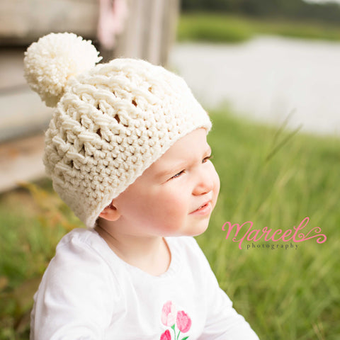 Pretty Pom Pom Baby and Toddler Girl Hat - Cream