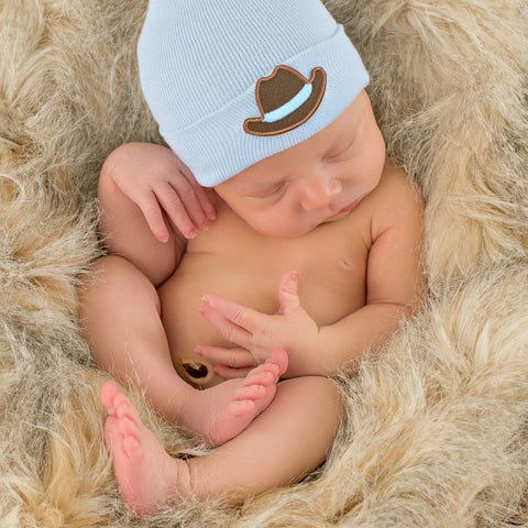 Cowboy Blue Newborn Hospital Hat - Newborn Boys
