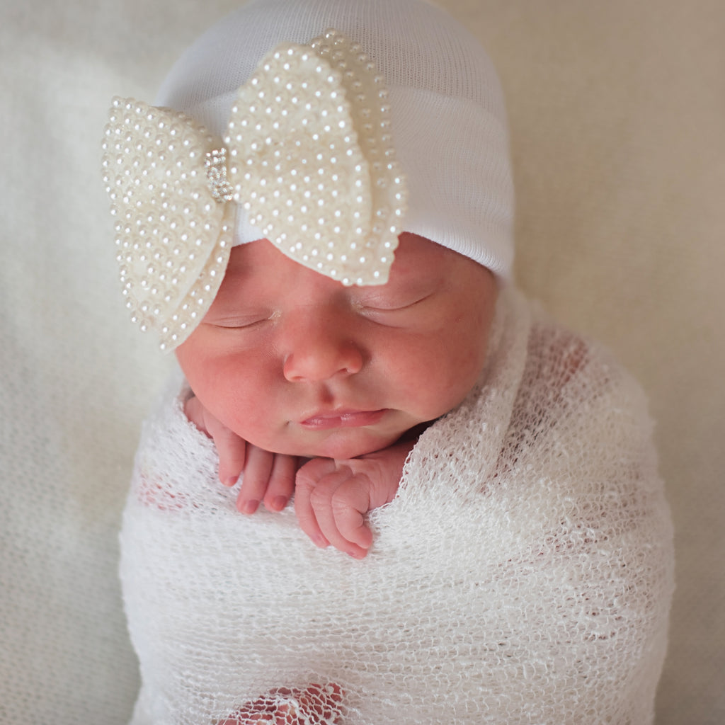 Pearl Bow Nursery Newborn Girl White Hospital Hat