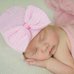 Pink & White Wide Striped Newborn Girl Hospital Hat with BIG BOW icon