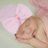 Pink & White Wide Striped Newborn Girl Hospital Hat with BIG BOW