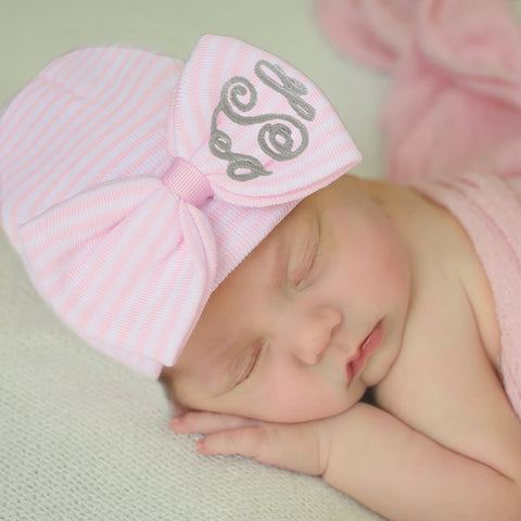 WIDE Purple (OR Pink) and White Striped Bow with  Monogrammed Initials Nursery Newborn GIRL hospital hat