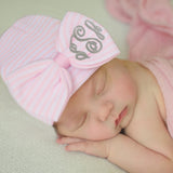 WIDE Pink (OR Purple) and White Striped Bow with  Monogrammed Initials Nursery Newborn GIRL hospital hat
