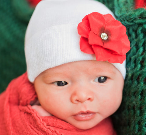 Red Christmas Hydrangea Flower on White Hat Baby Newborn Girl Hospital Hat