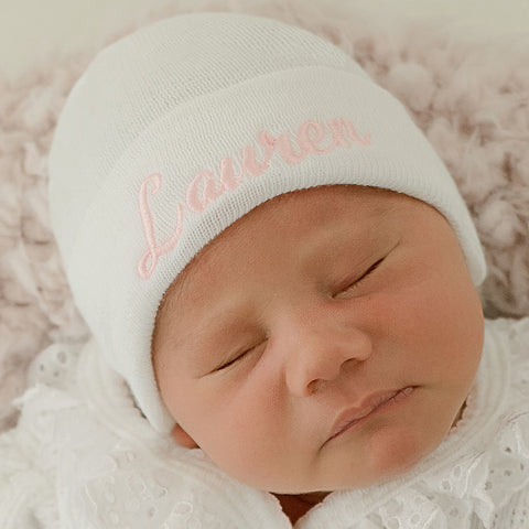 Solid White Personalized Newborn GIRL hospital hat