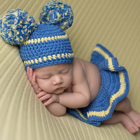 Baby Cheerleader Pom Pom Hat and Diaper Cover Skirt - Blue and ... a3bb9c8fdbb