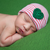 Red and White Striped Christmas Newborn Hospital Hat with Green Crocheted Heart - Gender Neutral