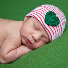 Red and White Striped Christmas Newborn Hospital Hat with Green Crocheted Heart - Gender Neutral icon