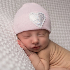 Sparkle Heart Pink Newborn Girl Nursery Beanie icon