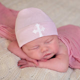 Pink Hospital Hat with White Cross Patch Newborn Girl Nursery Beanie