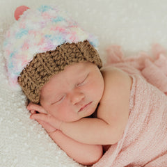 Soft Multi Colored Girl Cupcake Hat with Cherry on Top - Newborn and Baby Girls icon