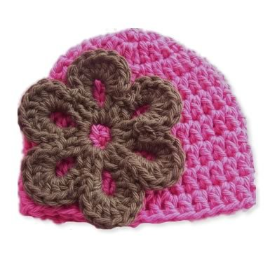 Chocolate Flower Pink Beanie Baby Hat