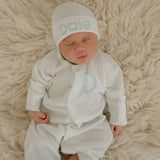 Personalized White Knit with Baby Blue Picot Trim Newborn Boy's Romper and hat SET